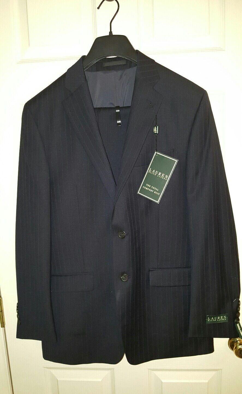 Ralph Lauren Total Comfort 2PC Suit Navy Wide Pinstripe w Pleated Pants 39Reg33W