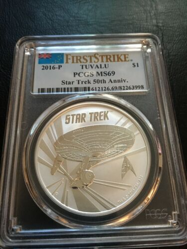 First Strike 2016 Tuvalu Star Trek 50th Anniv .999 Fine Silver Coin PCGS MS69