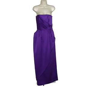 Vintage-VICTOR-COSTA-Women-039-s-Size-8-Purple-SATIN-MAXI-GOWN-NWT-New