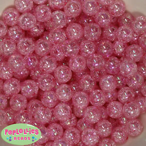 Details about 12mm Pink Acrylic Crackle Style Bubblegum Beads Lot 40  pc chunky gumball