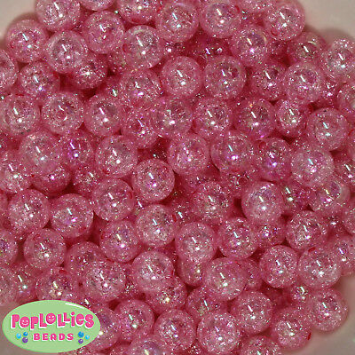12mm Hot Pink Acrylic Crackle Style Bubblegum Beads Lot 40 pc.chunky gumball