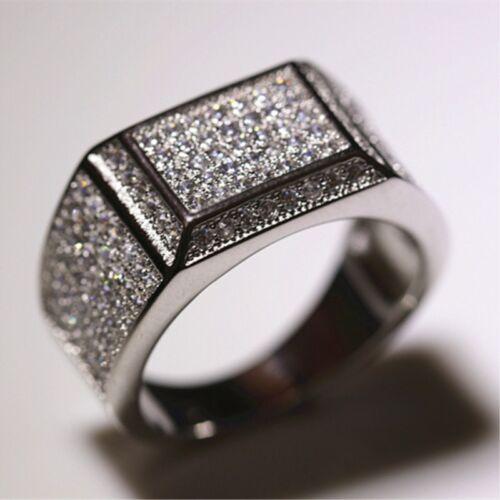 Luxe Micropave Zircone Cubique Bande Argent 925 Homme Fiançailles Fête de mariage Anneau Taille 8-12