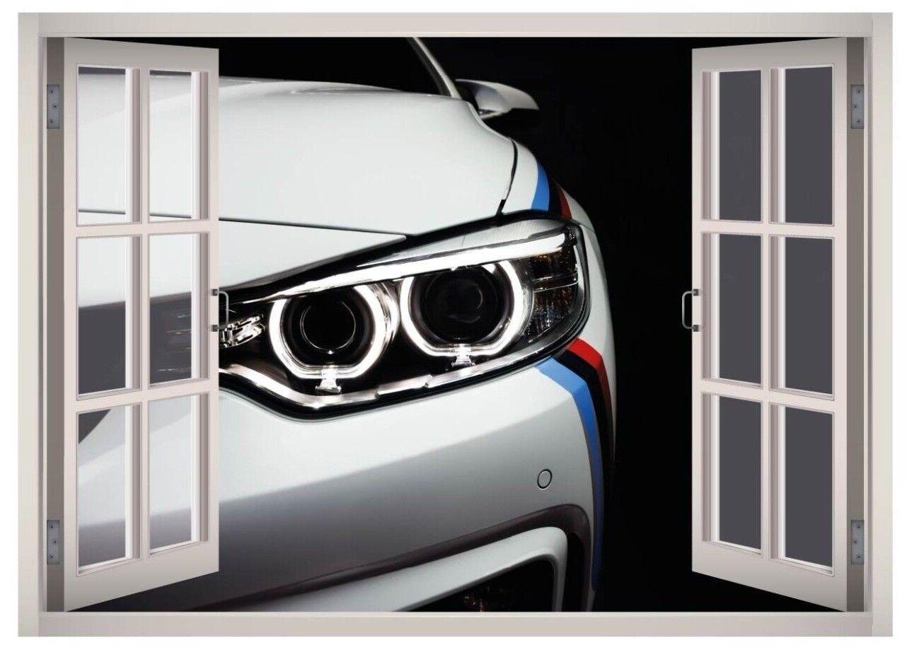 Luxury Car Garage Window 3D Wand Decal Kunst Mural Decor Canvas Vinyl W152
