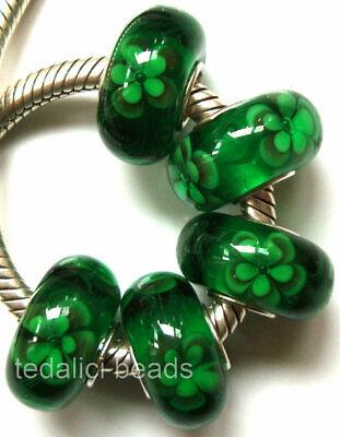 Wholesale Silver Lampwork Murano Glass Beads Fit European Charm Bracelet TF180