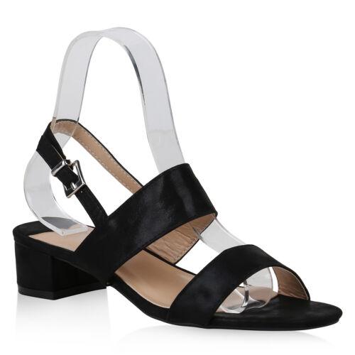 Damen Riemchensandaletten Metallic Sandaletten Blockabsatz 822262 Schuhe