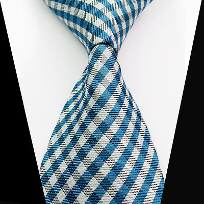 New Classic Blue Gray Striped 100%Silk Jacquard Woven Necktie Men's Tie