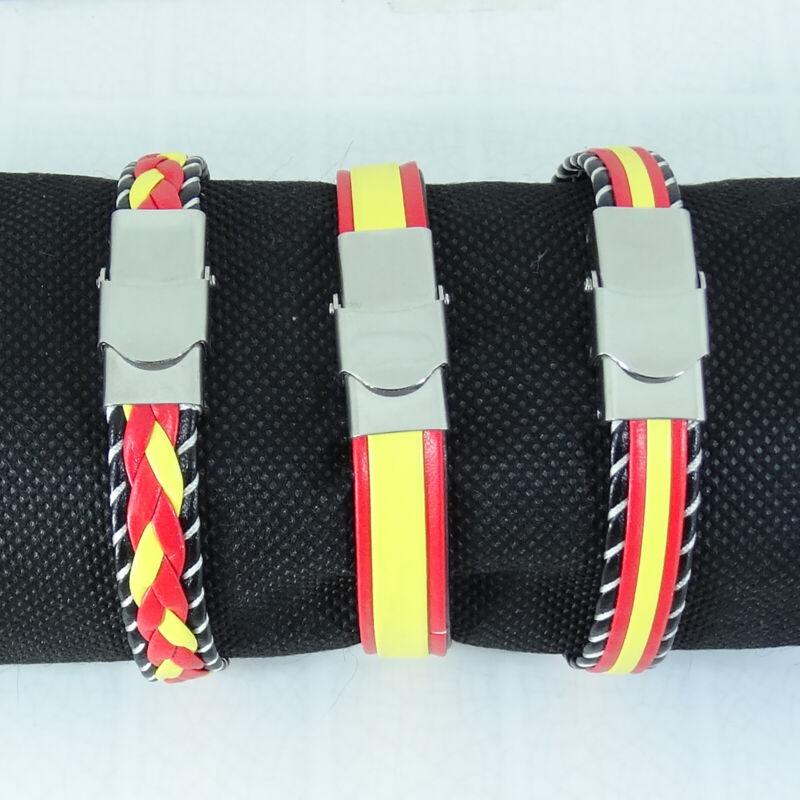 Bracelet Flag Spain Stainless Steel Bracelet Armband Leather Of Faux