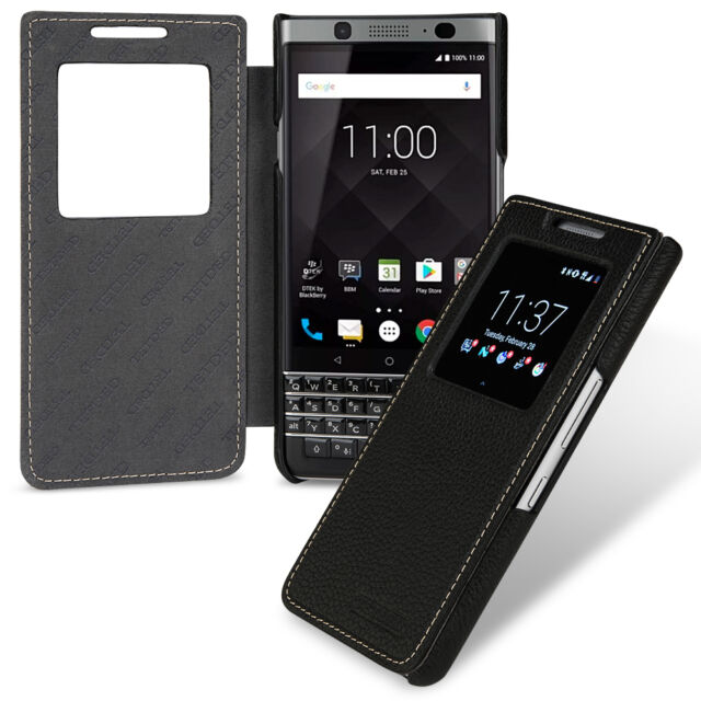 for BlackBerry KEYone Key1 Genuine Leather Flip Case Cover Caller Display  Black