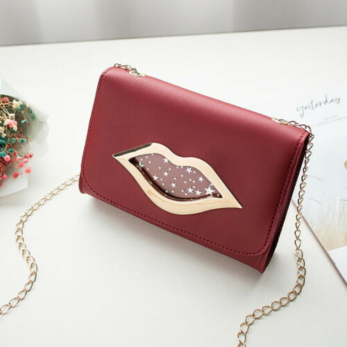 Women Red Lip Clutch Chain Handbag Ladies Faux PU Leather Shoulder Messenger Bag