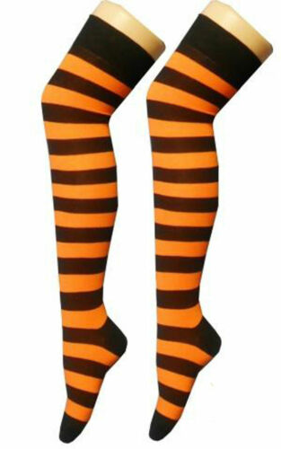Ladies Over The Knee Hold Up Sock //Stripe Plain Thight High With Bow Fancy Dress