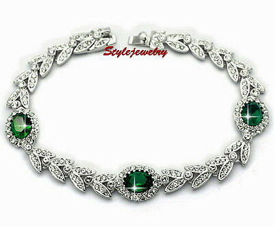Emerald Green White Gold Filled Wheat Bracelet Made With Swarovski Crystal T24