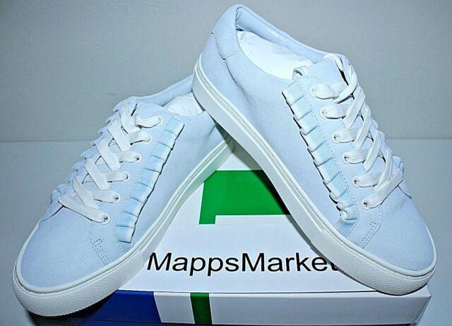 0ff67dc01 NIB Authentic TORY BURCH Ruffle Suede Sneaker in Blue Silk Snow White Sz 8   228