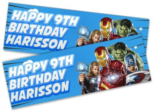 X2 Personnalisé Anniversaire Bannière Avengers Enfants Fête Décoration Poster 8