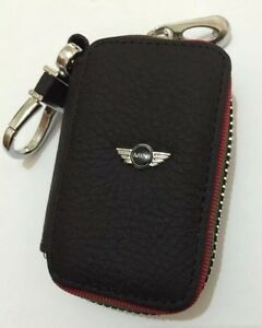 mini cooper genuine leather key cover case holder ring chain fob ebay. Black Bedroom Furniture Sets. Home Design Ideas