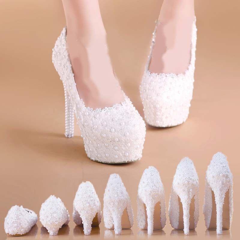 Women's Bridal Wedding Pearl Lace High Heel Slip on Platform Pumps Party shoes