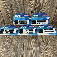 Lot Of 5 Expo Dry Erase Markers Black 2 Pack Chisel Tip Low Odor Ink
