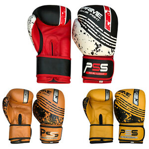 Real Leather boxing Gloves MMA Muay fight kick boxing punch training mold cut