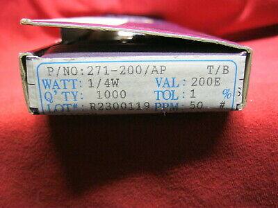 271-1.5K-RC Xicon Metal Film Resistors 100 ohms 1/% 1//4W Lot of 200