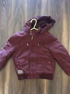 4a1c26ef4246 Boys Tu Dark Red Hooded Winter Jacket Age 5