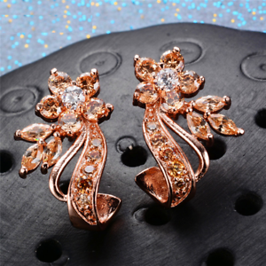 2ct Round Peach Morganite Unique Flower Design Drop Earrings 14k pink gold Over