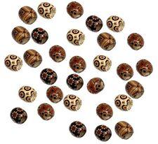 Rockin Beads 90 Wood Large Hole Macrame 16mm Mixed Colors Painted