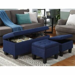 Astonishing Picket House Furnishings Ueh080100Ca Everett 3Pk Storage Ottoman In Blue Ocoug Best Dining Table And Chair Ideas Images Ocougorg