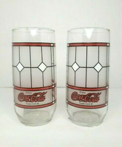2-Coca-Cola-Drinking-Glasses-Vintage-Tiffany-Style-Coke-Frosted-Glass-Cups
