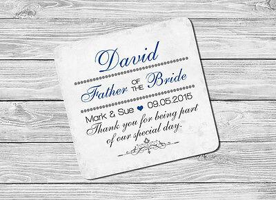 Ingegnoso Personalizzato Il Padre Della Sposa Nome & Data Bere Coaster Tappetino Wedding Day Regalo-