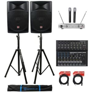2-Rockville-RPG15-15-034-2000w-Active-PA-DJ-Speakers-Mixer-Mic-Stands-Cables-Bag