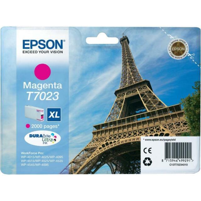 Original Epson T7023 Ink Magenta Workforce pro WP4015 4525 Mhd 07/2020