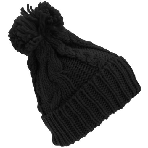Womens Heavyweight Cable Knit Winter Hat With Pom Pom HA512