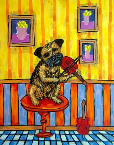 VIOLIN art with a BORDER terrier dog  poster gift modern folk 13x19 JSCHME GLOS