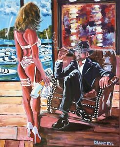 Cigar-Man-Cave-Babe-Original-Art-Painting-DAN-BYL-Contemporary-Modern-4x5ft