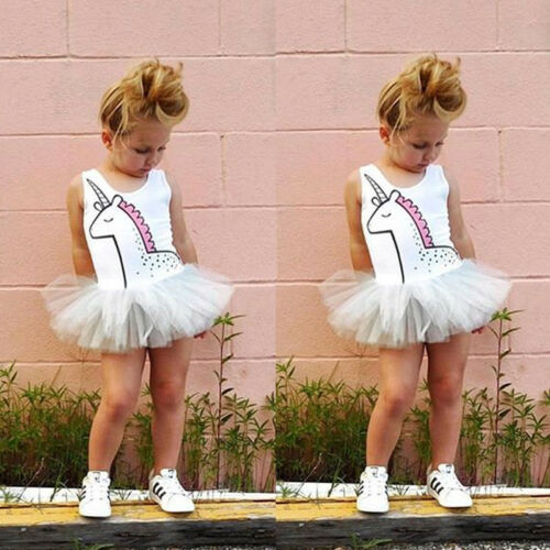 Newborn Baby Girls Unicorn Lace Tutu Romper Fancy Dress Outfits Kids Costume 1pc