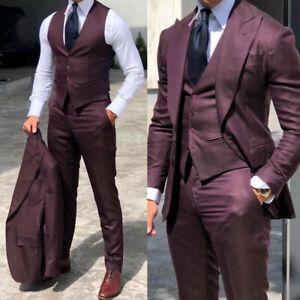 Purple 3 Piece Men Suits Blazer Slim Fit Vest Jackets Wedding Groommen Formal