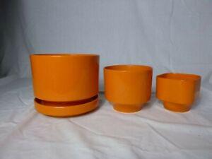 Set of 3 Vtg 70's MOD Dark Orange Color Plastic Plant Pots Planters