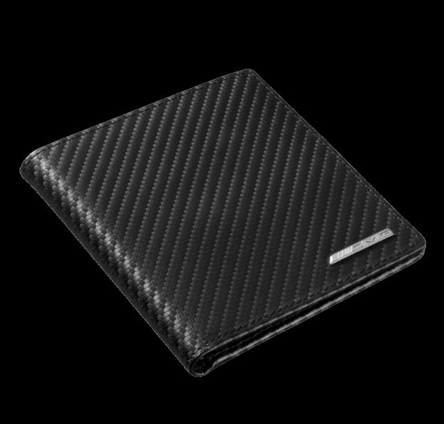 MERCEDES BENZ AMG Original bolsillo tarjeta de crédito Carbón Piel Negro
