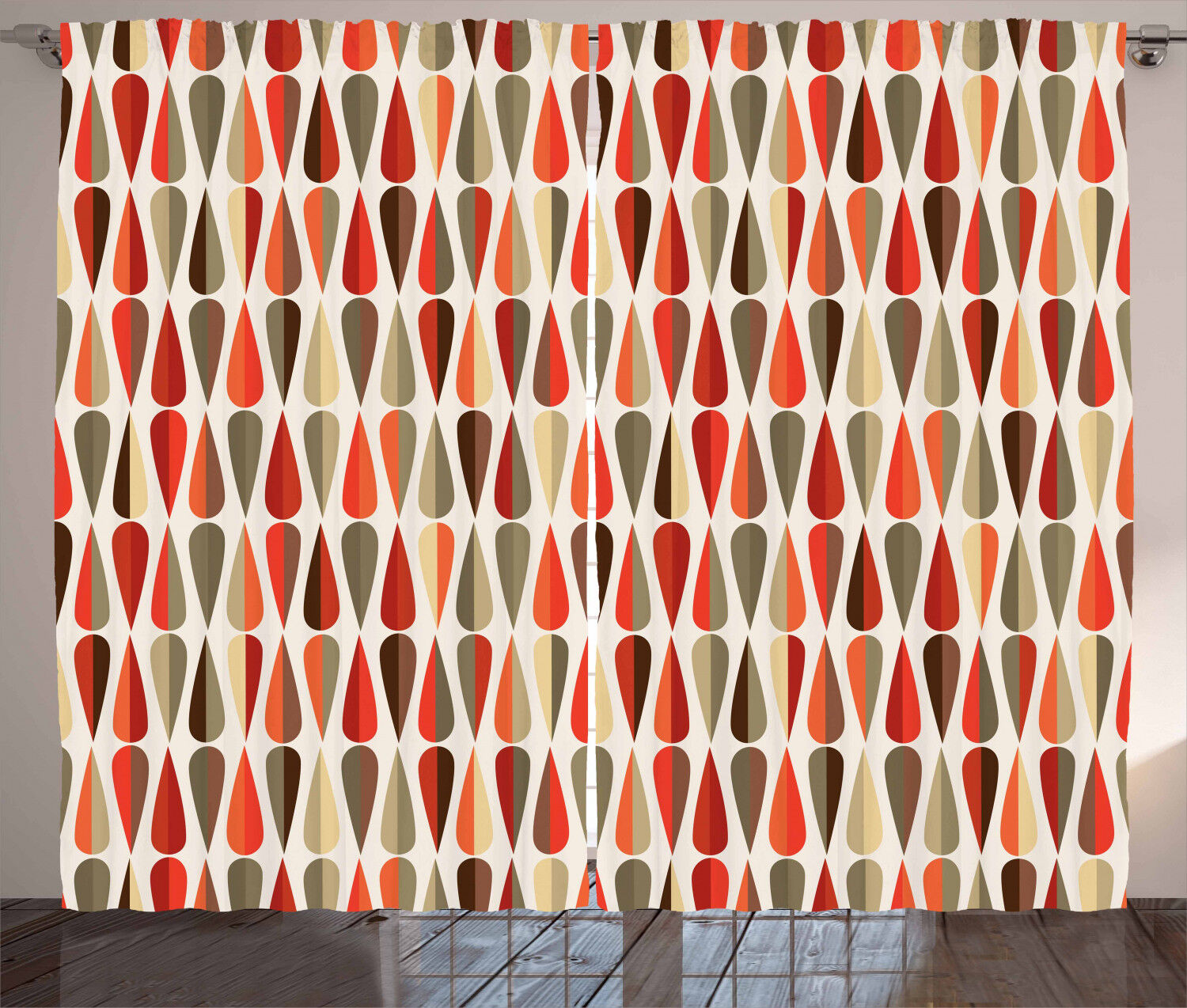 Geometric Curtains 70s Retro Style Window Drapes 2 Panel Set 108x84 Inches