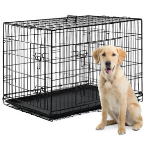 Details about 2 Door Pet Cage Folding Dog w/Divider Cat Metal Crate Cage  Kennel w/Tray Black