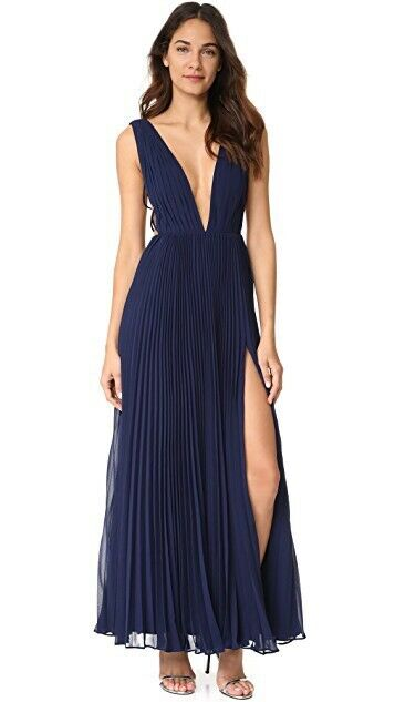 Free People & Fame & Partners Allegra Maxi Dress Sz2 Gown Navy