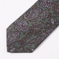 $225 Luciano Barbera Moss Green Paisley Print Wool Tie 3.25 Width