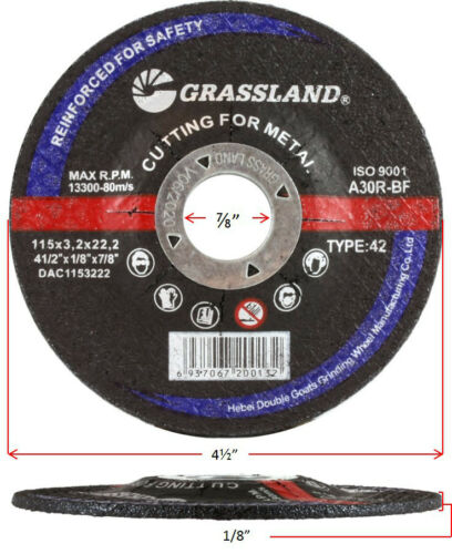 "4-1//2/"" x 1//8/"" x 7//8/"" -T42 - Steel Cut-off wheel Depressed center 100 PACK"