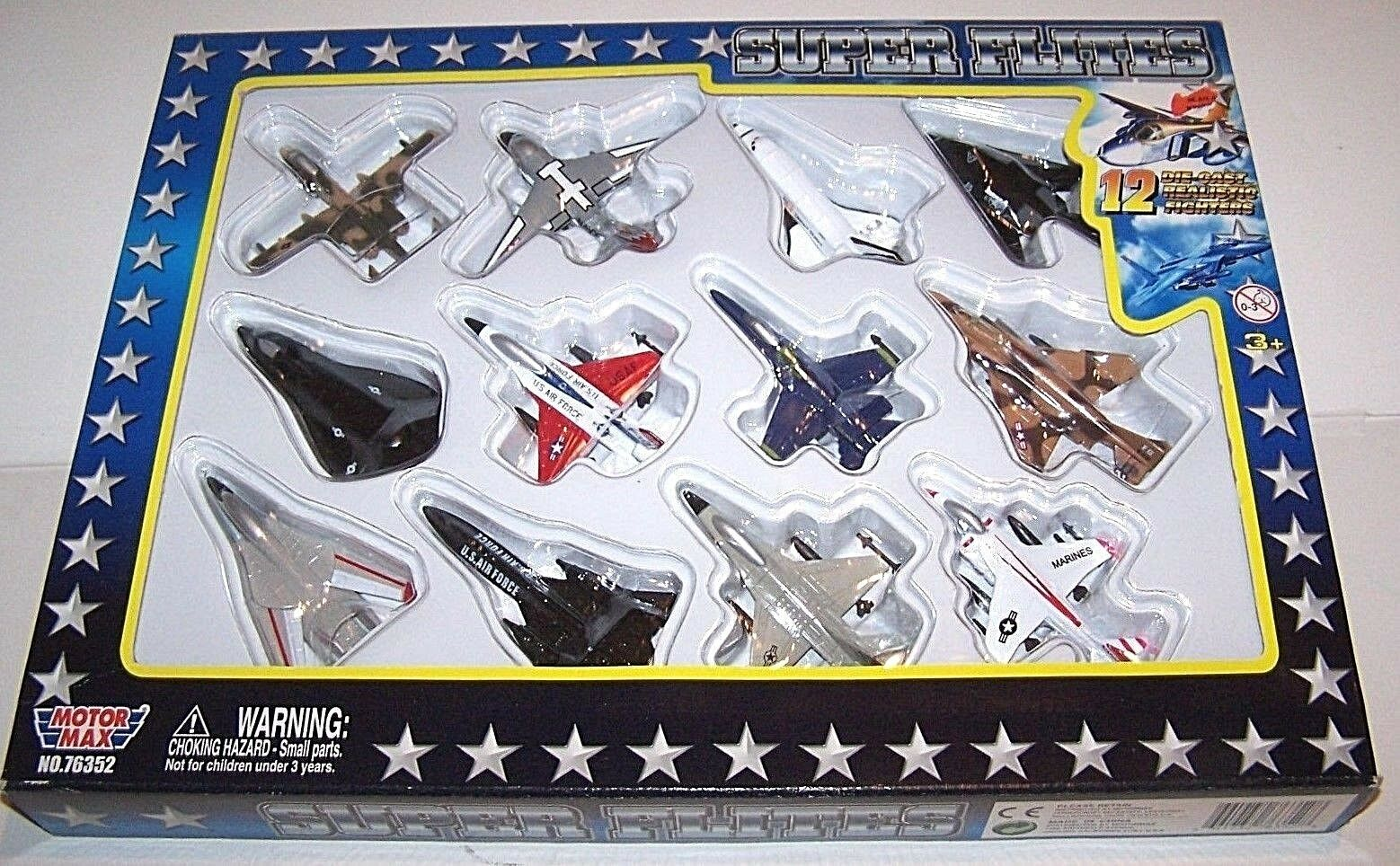 Motor Max Super Flites 76352 diecast military Jets Stealth navette spatiale rare