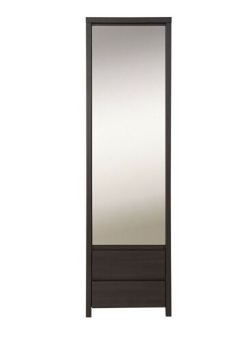 Tall Single Slim Wardrobe Compact Narrow Mirror Door Drawers Wenge Brown Kaspian