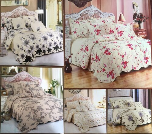 LUXURY HIGH A*QUALITY QUILTED MICROFIBER WARM FLORAL 5 PIECE BEDSPREAD//THROW SET