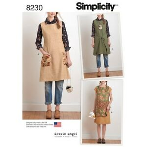 Simplicity-Pattern-8230-Misses-039-Apron-Wrap-Dress-Tunic-Dottie-Angel-XS-XL