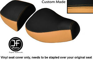 CREAM & BLACK VINYL CUSTOM FOR PIAGGIO VESPA LXV 125 150 FRONT REAR SEAT COVERS