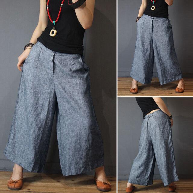 ZANZEA Women Hip Hop Cotton Lantern Harem Pants Long Wide Leg Trousers Plus Size