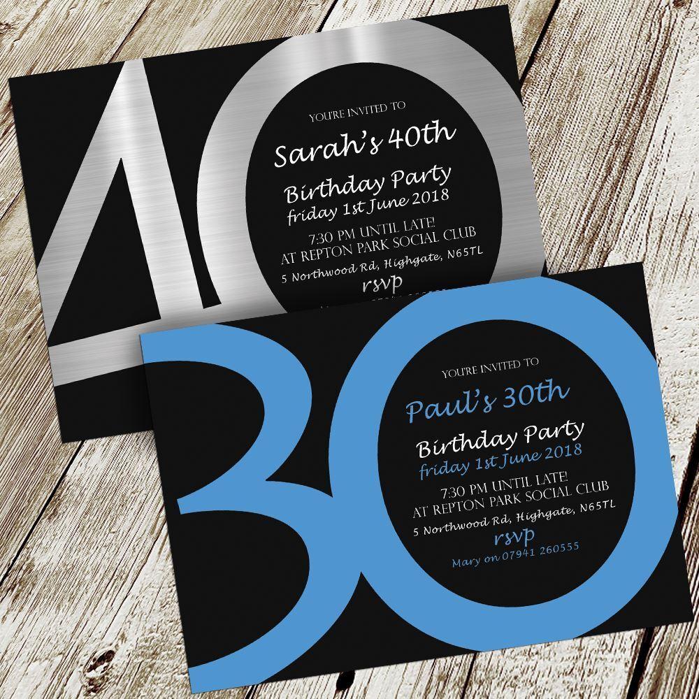 Birthday Invitations Invites Personalised + Envelopes 18th 21st 30th 40th 50th