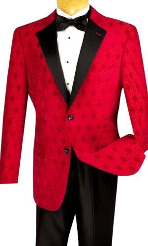 New Mens Red Diamond Tuxedo Dinner Jacket Holiday Christmas Party Pant Set Black